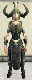 Linza's armour equipped (female).png: Linza's helm equipped by a player