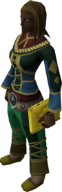 Mages' book (yellow) equipped.png: Mages' book (yellow) equipped by a player