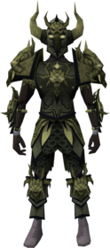 Malevolent armour (barrows) equipped (male).png: Malevolent greaves (barrows) equipped by a player