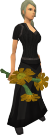 Orange flowers equipped.png: Orange flowers equipped by a player