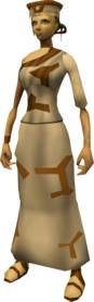 Villager outfit (brown) equipped (female).png: Villager armband (brown) equipped by a player