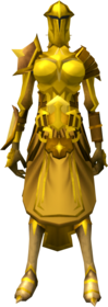 Golden warpriest of Saradomin armour equipped (female).png: Golden warpriest of Saradomin boots equipped by a player