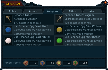 Barbarian Assault rewards interface (Weapons).png