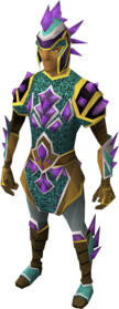 Dragonstone armour equipped.png: Dragonstone gauntlets equipped by a player