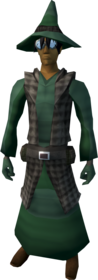 Runecrafter robes (green, goggles on) equipped (male).png: Runecrafter skirt (green) equipped by a player