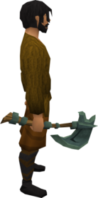 Adamant hatchet equipped.png: Adamant hatchet equipped by a player