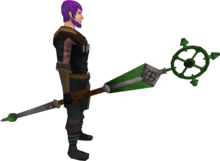 Ancient staff (green) equipped.png: Ancient staff (green) equipped by a player