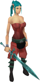 Leaf-bladed sword equipped.png: Leaf-bladed sword equipped by a player
