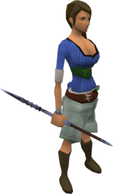 Mithril javelin equipped.png: Mithril javelin equipped by a player