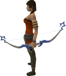 Saradomin bow equipped.png: Saradomin bow equipped by a player