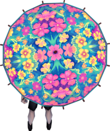 Kauai parasol equipped.png: Kauai parasol equipped by a player