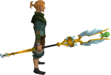 Armadyl battlestaff equipped.png: Armadyl battlestaff equipped by a player