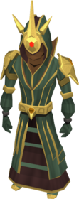 Celestial robe armour equipped (female).png: Celestial hood equipped by a player
