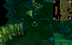 Scan clue Brimhaven Dungeon upper level west of south staircase.png