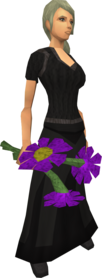 Purple flowers equipped.png: Purple flowers equipped by a player