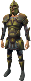 Second-Age melee armour equipped.png: Second-Age platelegs equipped by a player