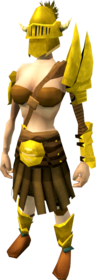 Golden Verac's armour equipped (female).png: Golden Verac's brassard equipped by a player