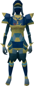 Lunar armour (blue) equipped (female).png: Lunar boots (blue) equipped by a player