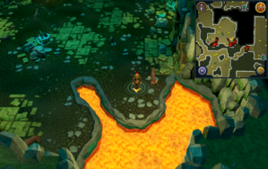 Scan clue Brimhaven Dungeon lower level in central wild dog chamber.png