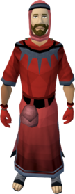 Unhallowed robe outfit equipped (male).png: Unhallowed hood equipped by a player
