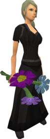 Flowers (pastel) equipped.png: Flowers (pastel) equipped by a player