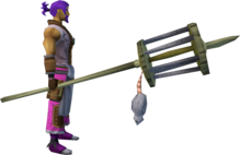 Rat pole (1) equipped.png: Rat pole equipped by a player