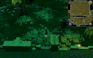 Scan clue Brimhaven Dungeon lower level in southern part of red dragon chamber.png
