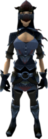 Black dragonhide armour equipped (female).png: Black dragonhide body equipped by a player
