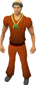 Three-leaf clover necklace equipped.png: Three-leaf clover necklace equipped by a player
