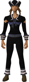 Naval outfit (black) equipped (female).png: Black tricorn hat equipped by a player