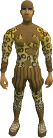 Acrobat costume (male) equipped.png: Acrobat hood equipped by a player
