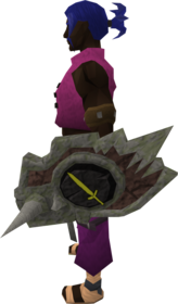 Sacred clay shield (melee) equipped.png: Sacred clay shield (melee) equipped by a player