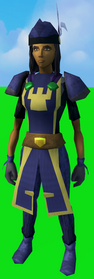Serjeant outfit (trousers) equipped (female).png: Serjeant trousers equipped by a player