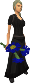 Blue flowers equipped.png: Blue flowers equipped by a player