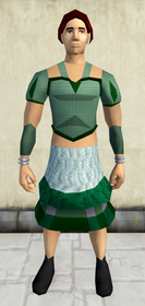 Green elegant outfit (blouse and skirt) equipped (male).png: Green elegant skirt equipped by a player