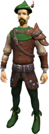 A player wearing the regular robin hood equipment