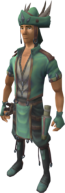 Fletcher's outfit equipped.png: Fletcher's chestpiece equipped by a player