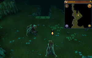 Scan clue Brimhaven Dungeon upper level south of south staircase.png