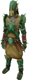 Achto Primeval armour equipped.png: Achto Primeval robe top equipped by a player