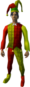 Silly jester outfit equipped (male).png: Silly jester boots equipped by a player