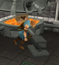 A player smithing metal bars into useful items