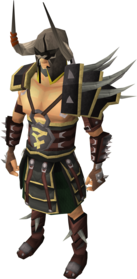 Bandos armour equipped (male).png: Bandos gloves equipped by a player