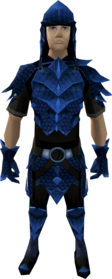 Blue dragonhide armour equipped (male).png: Blue dragonhide boots equipped by a player