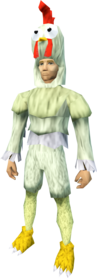 Chicken outfit equipped (male).png: Chicken head equipped by a player