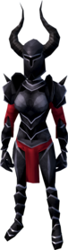 Black armour (heavy) equipped (female).png: Black full helm equipped by a player