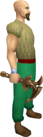 Bronze mattock equipped.png: Bronze mattock equipped by a player