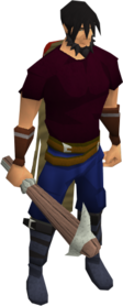Pickaxe (class 3) equipped.png: Pickaxe (class 3) equipped by a player