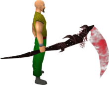 Noxious scythe (blood) equipped.png: Augmented noxious scythe (blood) equipped by a player