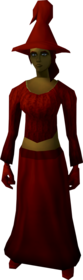Robe outfit (red) equipped (female).png: Robe top (red) equipped by a player