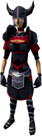 Black armour (light) equipped (female).png: Black plateskirt equipped by a player